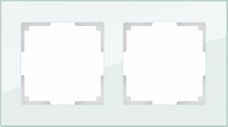 Рамка Favorit на 2 поста натуральное стекло WL01-Frame-02 4690389060175