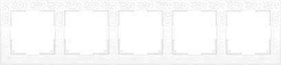Рамка Flock на 5 постов белая WL05-Frame-05-white 4690389059391