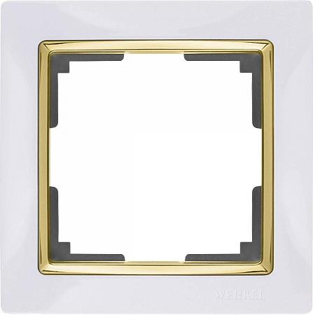 Рамка Snabb на 1 пост белый/золото WL03-Frame-01-white/GD 4690389083877