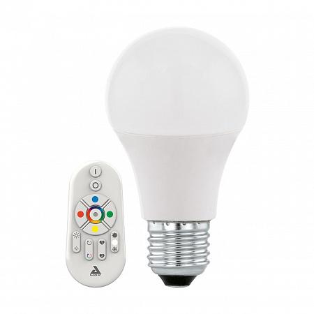 Лампа светодиодная E27 9W 2700-6500K груша матовая c пультом ДУ 11585