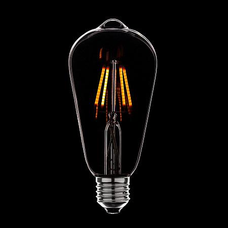 Лампа светодиодная диммируемая E27 4W груша прозрачная 056-755