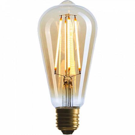 Лампа светодиодная диммируемая E27 4W 2200K колба золотая 057-080