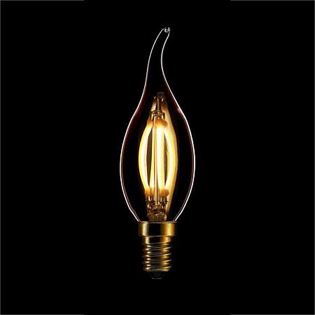 Лампа светодиодная диммируемая филаментная E14 4W 2200K свеча на ветру золотая 057-103