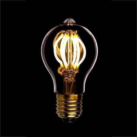 Лампа светодиодная диммируемая филаментная E27 4W 2200K груша золотая 057-127