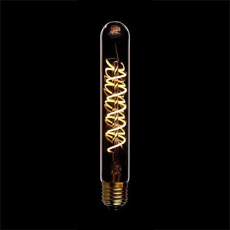 Лампа светодиодная диммируемая филаментная E27 4W 2200K трубчатая золотая 057-110