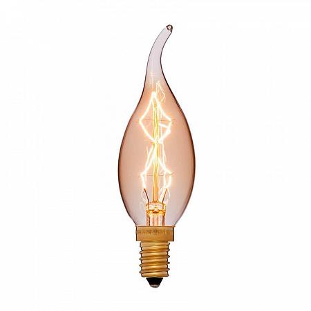 Лампа накаливания E12 40W свеча на ветру золотая 053-709