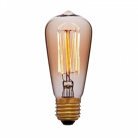 Лампа накаливания E27 60W колба золотая 053-600