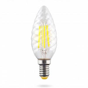 Лампа светодиодная E14 6W 2800К свеча витая прозрачная VG10-CC1E14warm6W-F 7027