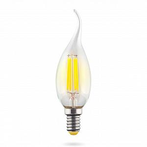 Лампа светодиодная E14 6W 2800К свеча на ветру прозрачная VG10-CW1E14warm6W-F 7017