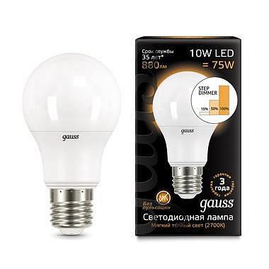 Лампа светодиодная диммируемая E27 10W 2700K груша матовая 102502110-S