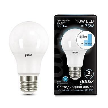 Лампа светодиодная диммируемая E27 10W 4100K груша матовая 102502210-S