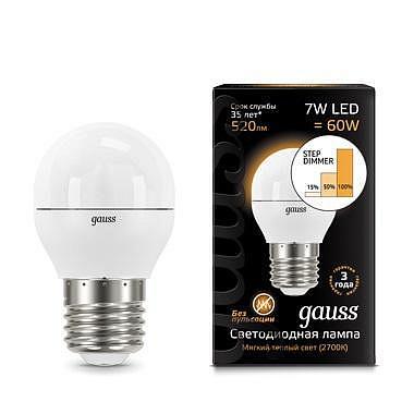 Лампа светодиодная диммируемая E27 7W 2700K шар матовый 105102107-S