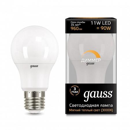 Лампа светодиодная диммируемая E27 11W 3000K груша матовая 102502111-D