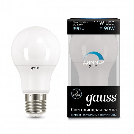 Лампа светодиодная диммируемая E27 11W 4100K груша матовая 102502211-D