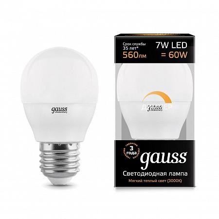 Лампа светодиодная диммируемая E27 7W 3000K шар матовый 105102107-D