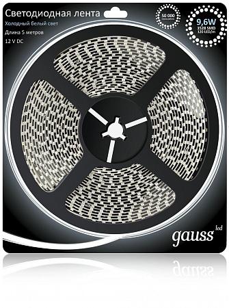 Светодиодная лента Gauss 5M холодный белый 9,6W 3528SMD 120LED/m 311000310