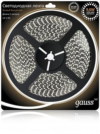 Светодиодная лента Gauss 5М теплый белый 9.6W 3528SMD 120LED/m 312000110