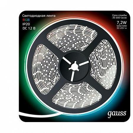 Светодиодная лента Gauss 5M RGB 7,2W 5050SMD 30LED/m 312000407