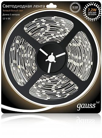 Светодиодная лента Gauss 5M теплый белый 7.2W 5050SMD 30LED/m 312000107