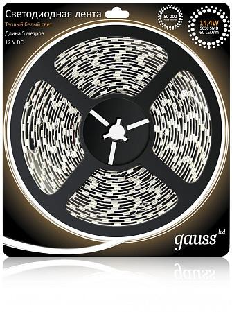 Светодиодная лента Gauss 5М теплый белый 14,4W 5050SMD 60LED/m 312000114