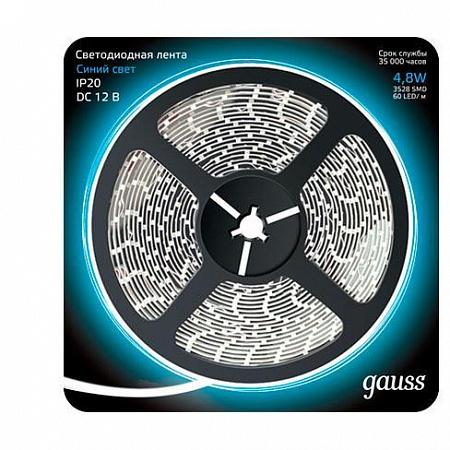 Светодиодная лента Gauss 5M синий 4,8W 3528SMD 60LED/m 312000505