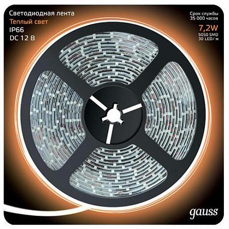 Светодиодная лента Gauss 5M теплый белый 7,2W 5050SMD 30LED/m 311000107