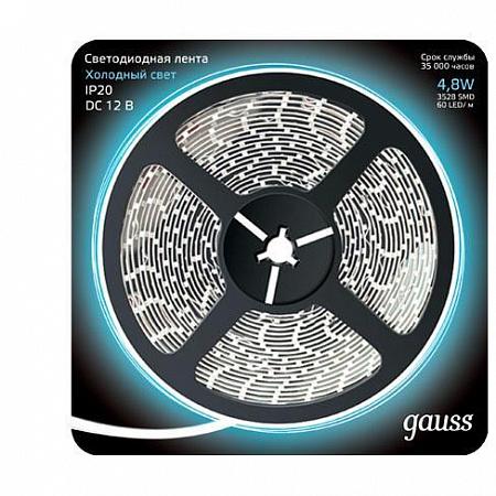Светодиодная лента Gauss 5M холодный белый 4,8W 3528SMD 60LED/m 312000305