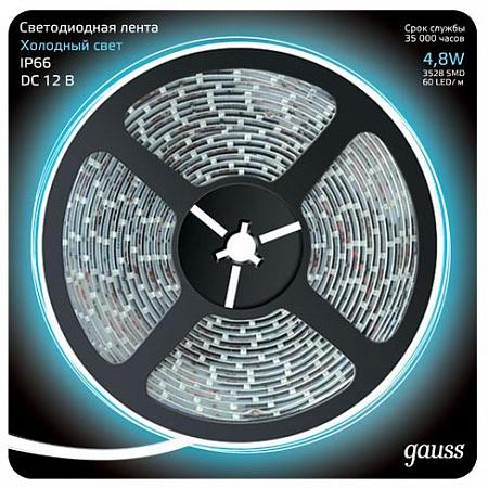 Светодиодная лента Gauss 5M холодный белый 4,8W 3528SMD 60LED/m 311000305