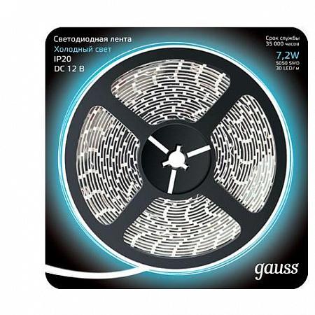 Светодиодная лента Gauss 5M холодный белый 7,2W 5050SMD 30LED/m 312000307