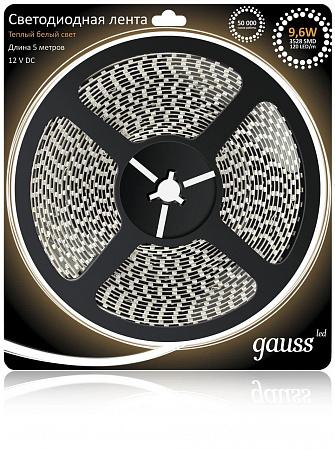 Светодиодная лента Gauss 5M теплый белый 9,6W 3528SMD 120LED/m EB311000110