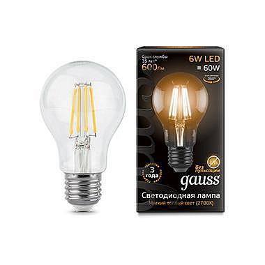 Лампа светодиодная филаментная E27 6W 2700К груша прозрачная 1/10/50 102802106