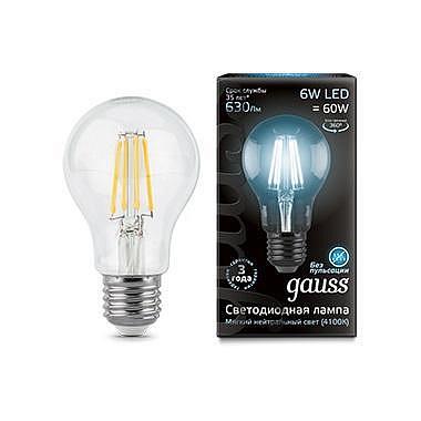 Лампа светодиодная филаментная E27 6W 4100К груша прозрачная 1/10/50 102802206