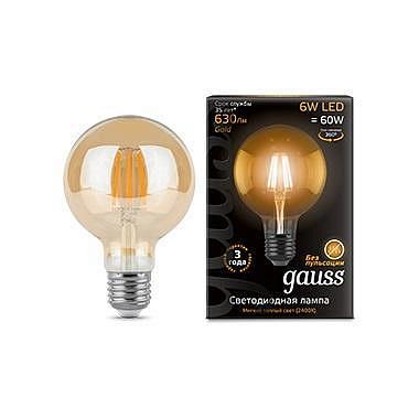 Лампа светодиодная филаментная E27 6W 2400K шар прозрачный 1/20 105802006