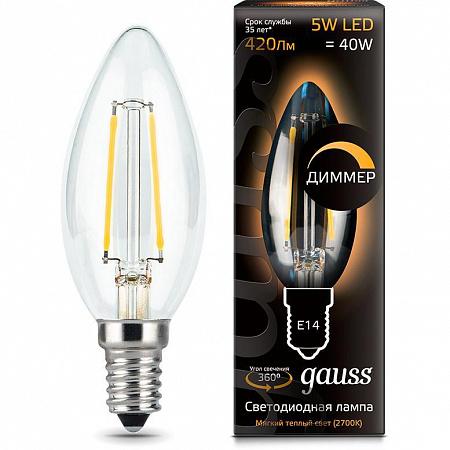 Лампа светодиодная диммируемая филаментная E14 5W 2700К свеча прозрачная 103801105-D