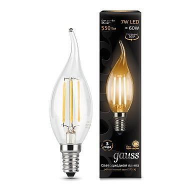 Лампа светодиодная филаментная E14 7W 2700К свеча на ветру прозрачная 104801107