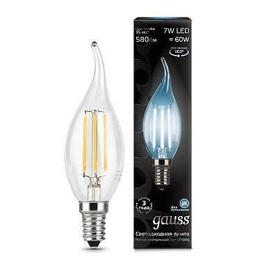 Лампа светодиодная филаментная E14 7W 4100К свеча на ветру прозрачная 104801207