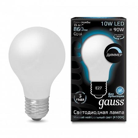 Лампа светодиодная диммируемая филаментная E27 10W 4100К груша матовая 102202210-D