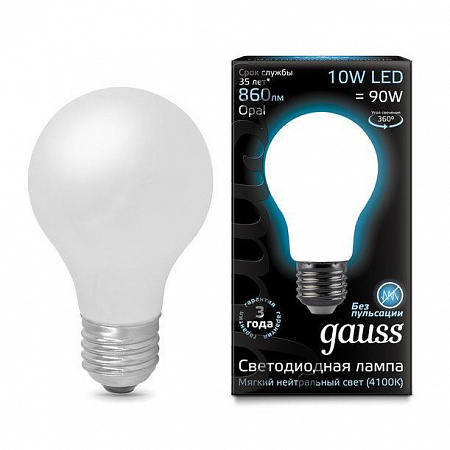 Лампа светодиодная филаментная E27 10W 4100К груша матовая 102202210