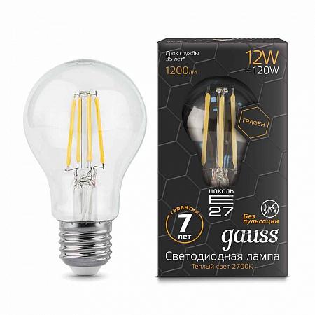 Лампа светодиодная филаментная E27 12W 2700К груша прозрачная 102802112