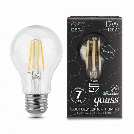 Лампа светодиодная филаментная E27 12W 4100К груша прозрачная 102802212