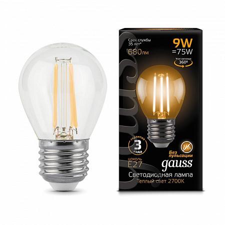 Лампа светодиодная филаментная E27 9W 2700K шар прозрачный 105802109