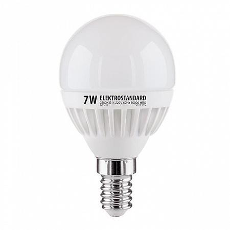 Лампа светодиодная E14 7W 3300K шар матовый mini 4690389085376