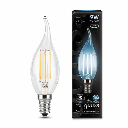 Лампа светодиодная филаментная E14 9W 4100К свеча на ветру прозрачная 104801209