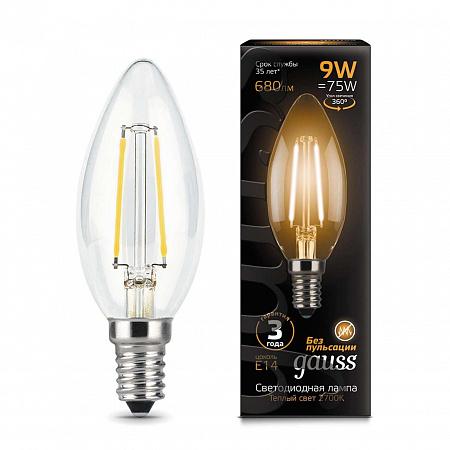 Лампа светодиодная филаментная E14 9W 2700К свеча прозрачная 103801109