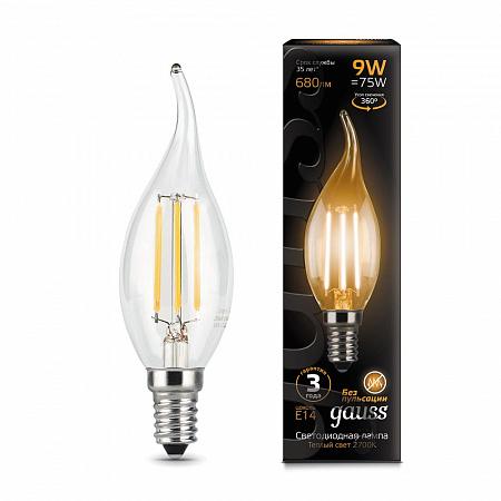 Лампа светодиодная филаментная E14 9W 2700К свеча на ветру прозрачная 104801109