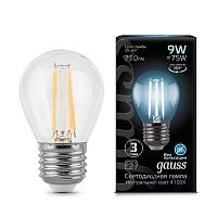 Лампа светодиодная филаментная E27 9W 4100К шар прозрачный 105802209