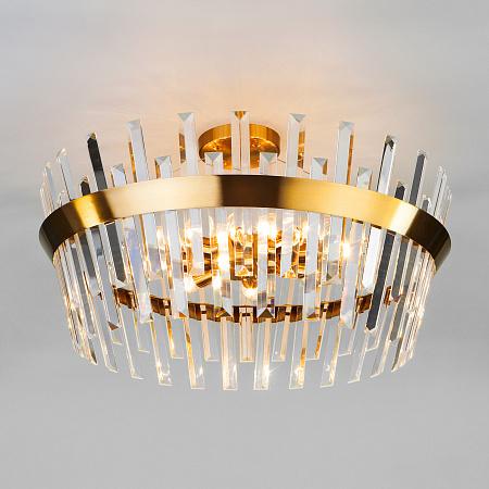 Потолочная люстра Eurosvet Steccato 10111/8 золотая бронза/прозрачный хрусталь Strotskis