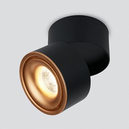 Светодиодный спот Elektrostandard Klips DLR031 15W 4200K черный матовый/золото
