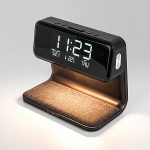 Настольная лампа Eurosvet Smith с беспроводной зарядкой и будильником 80506/1 черный
