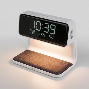 Настольная лампа Eurosvet Timelight с беспроводной зарядкой и будильником 80506/1 белый